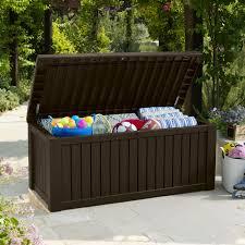 Plastic Garden Storage Bench Seat by Keter Rockwood 150 Gallon Deck Box 214301 Hayneedle