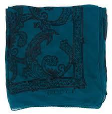 gucci teal blue black paisley printed sheer silk large square