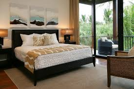 Other Metro Tropical Bedroom Decorating Ideas With Balcony Black Bed Curtains Drapes French Doors Glass Platform Beds Rattan Furniture