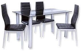 roller esstischgruppe 5 teilig glastisch und 4 stühle schwarz