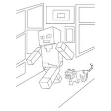 Minecraft Characters Steve And Alex Walking Coloring Pages