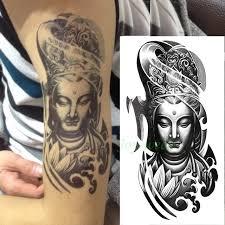 Waterproof Temporary Tattoo Sticker Large Size Chinese Buddha Tatto Stickers Flash Tatoo Fake Tattoos For Men