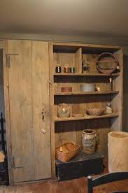 Primitive Hutch Rustic Decor Kitchen Furniture Antiques Wood Colonial