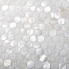 of pearl tiles white hexagon shinning wall deco backsplash
