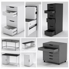 Linnmon Alex Desk Black by Office Storage 3d Models Turbosquid Com