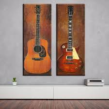 2 Panel Guitar Music Prints Painting On Canvas For Bedroom Modern Wall Art Home Decor Room