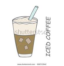Iced Coffee And Simple Writing Hand Drawing Illustration Vector