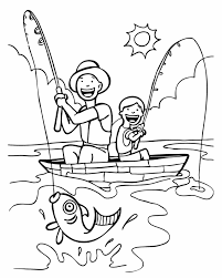 Homely Ideas Fishing Color Pages Dad And Son Free Printable Coloring