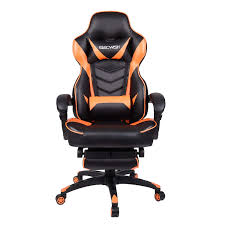 Office Racing Video Gaming Chair Ergonomic Swivel PU Leather Bucket Seat  High Back Chair Footrest Padding Lumbar Support Headrest (Orange) Merax Orange High Back Gaming Chair With Lumbar Support And Headrest Cougar Armor S Luxury Breathable Premium Pvc Leather Bodyembracing Design Mid Century Modern Highback Lounge Revive Modern In Highback Swivel Black With Racing Style Ergonomic Office Desk By Morndepo Xl Executive Ribbed Pu Computer Gothic Inspired Velvet Throne Task Global Ding Chairs Upholstered Angelic Vini Furntech Gromalla Mesh Akracing Nitro Robus High Back From Stylex Architonic Video Bucket Seat Footrest Padding