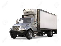 Silver Refrigerator Trailer Truck Stock Photo, Picture And Royalty ...