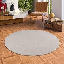 natur teppich wolle berber grau meliert rund