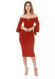 ax paris womens red midi bodycon dress notch front frill sleeve
