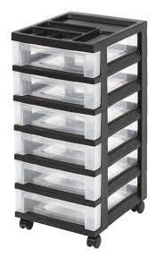 IRIS 6-Drawer Rolling Storage Cart With Organizer Top, Black ...