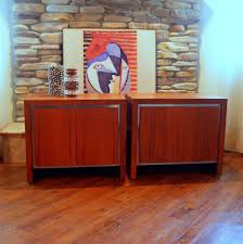 MID CENTURY MODERN Vintage Walnut Cabinets Pair of 1960s A…