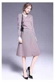 v neck knitted dresses plain button long sleeve knitwear a line