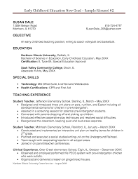 Early Childhood Education Resume Objective