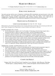 Resume For Administrative Assistant Objective Admini Maryann Bolles