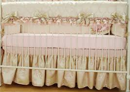 Bratt Decor Crib Skirt by Satin Crib Bedding Set With Pink Ruffles Pink Damask Pink
