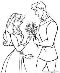 Princess Sleeping Beauty And Prince Coloring Pages Printable