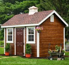 8 x12 garden shed with lap siding cupola mushroom stain and