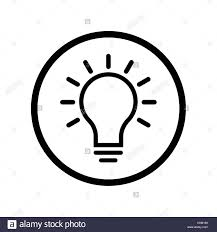 pictograph of light bulb icon in circle iconic symbol on white