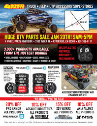 HUGE UTV PARTS SALE JAN 20th! 9AM-5PM 4 WHEEL PARTS RIVERSIDE 2018 Ford F150 In Fontana California Used Cat 3116 Truck Engine For Sale In Fl 1136 Freeway Isuzu Trucks Vans 10 Photos 14 Reviews Truck Rental Intertional Dealer Ct Ma For Sale Parts Light 1998 Mack Rd688s Stock 18867 Hoods Tpi Riverside Vehicles Sale Escanaba Mi 49829 Drcreek Auto Home