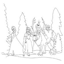 Kristoff Anna Elsa Sven And Olaf In A Happy Mood Coloring Page