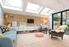 fantastisches retro wohnzimmer design mit backsteinmauer