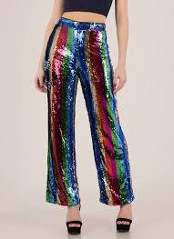 Sequins And Stripes Wide Leg Pants REDMULTI Final Sale