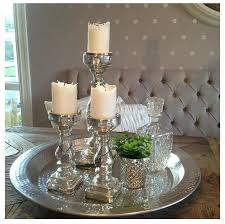 vintage silver tray candles and mercury glass couchtische