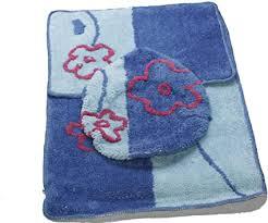 amara global 3tlg bad garnitur bad teppich badezimmer set badematte vorleger eurt 31 blau rot