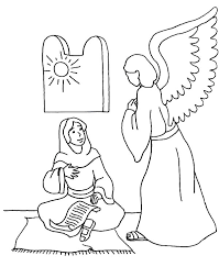 How To Draw An Angel Appears Mary Coloring Pages