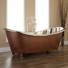 72 isabella copper double slipper clawfoot tub nickel interior