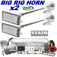 100 Truck Horns 2 X BIG RIG 152db AIR HORNS W VIAIR 275c 25 Gal Kit Best Loudest