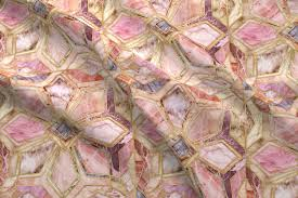 Mexican Shell Stone Tile by Geometric Gilded Stone Tiles In Blush Pink Peach And Coral Fabric