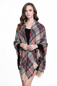 buttons and pleats women plaid blanket shawl scarf for fashion