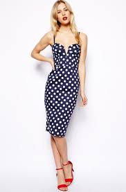 xxl dress summer women vintage navy blue polka dot dresses