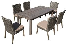 7 Piece Patio Dining Set by 7 Piece Antique Gray Hard Wood Gray Wicker Patio Dining Set Beige