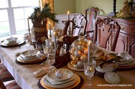 Rustic Christmas Table Decor Gold Silver Ornaments