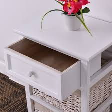 Shop Costway White Night Stand 3 Tiers 1 Drawer Bedside End Table