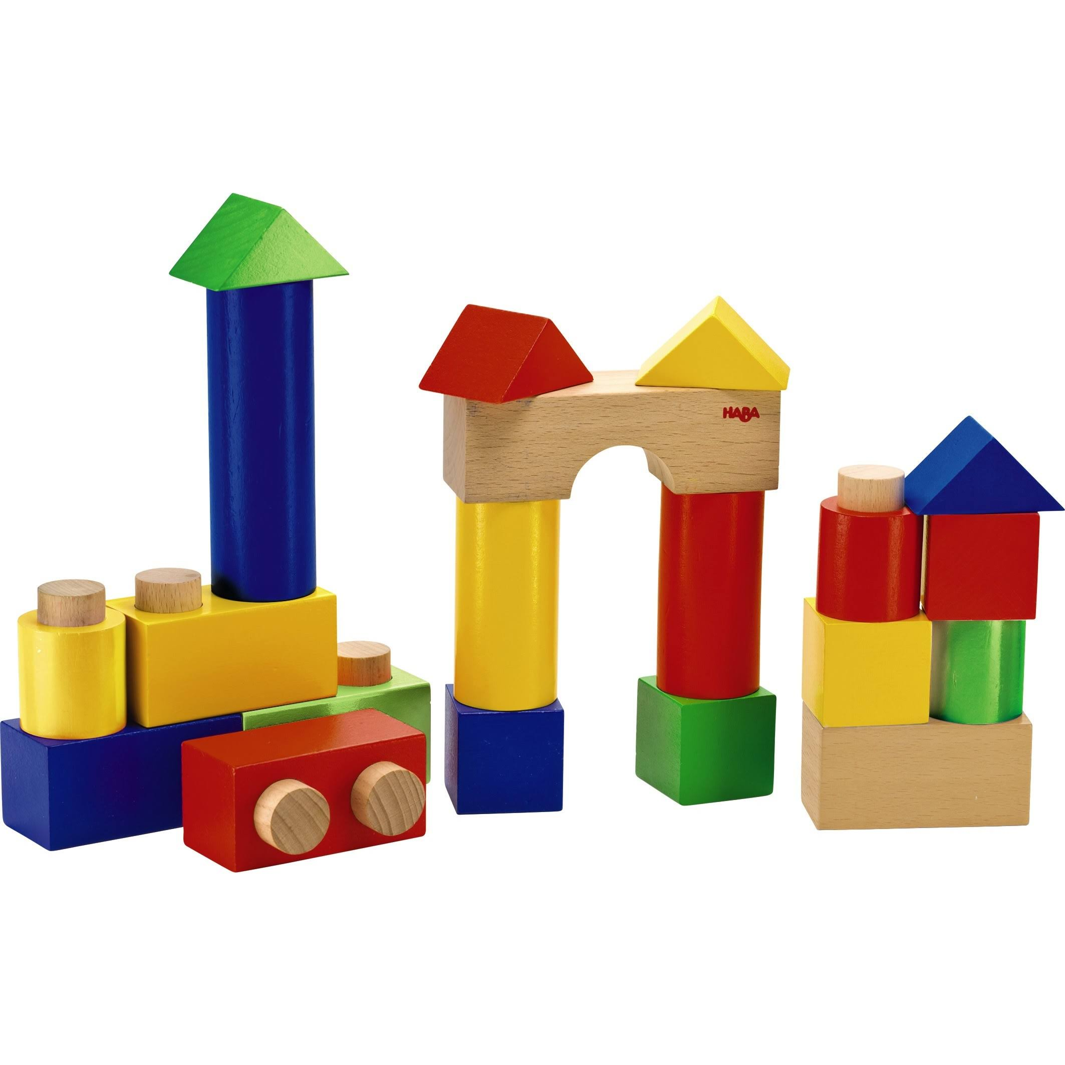 Haba Stack & Play Wooden Blocks - With Pegs, 18pc