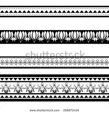 Illustration Of Black Polynesian Armband Tattoo Isolated On White Background