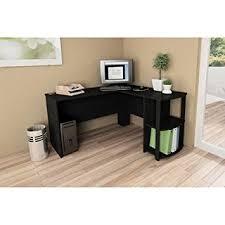 amazon com l shaped desk with side storage black ebony ash