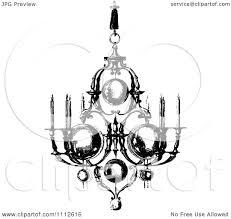 Clipart Vintage Black And White Ornate Chandelier With Candles