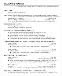 Example Of Resume For Graduate Teacher