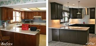Kitchen Remodel Before And After U Shape Themed Classic Brown Cabinets Into Modern Black