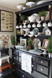 Black Modern Hutch With Farmhouse Style Decoration