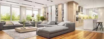 modernes wohnzimmer mit großen sofas und moderne küche