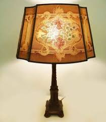 Rembrandt Floor Lamp With Table by Signed Rembrandt Floor Lamp With Large Slag Glass Shade