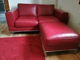 sofa rot leder ikea mit hocker sitzecke eur 145 00